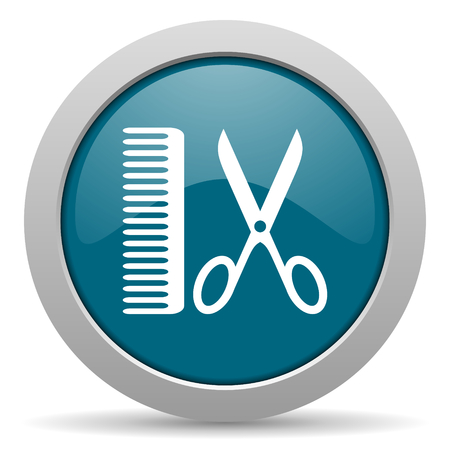 barber blue glossy web icon photo