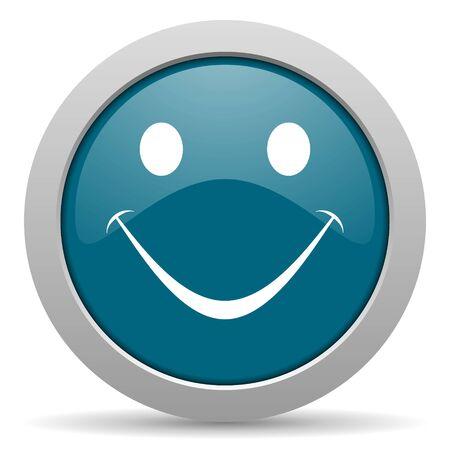 smile blue glossy web icon photo