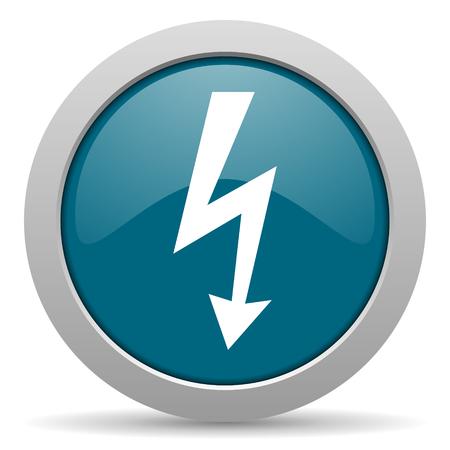 lightning bolt: bolt blue glossy web icon Stock Photo