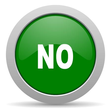 negate: no green glossy web icon Stock Photo