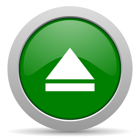 eject: eject green glossy web icon