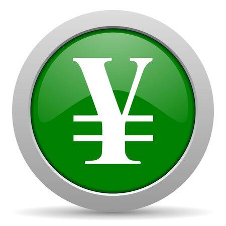 yen: yen green glossy web icon