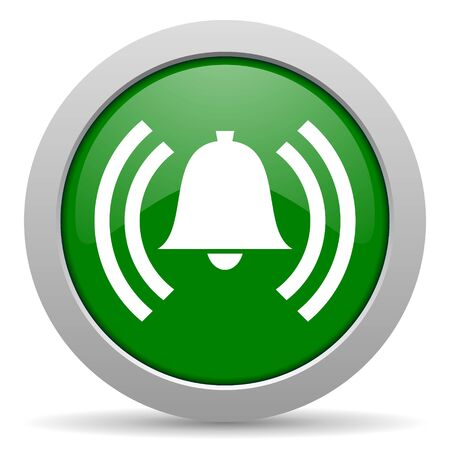 safe and sound: alarm green glossy web icon Stock Photo