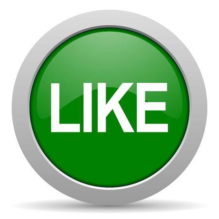 thumb keys: like green glossy web icon Stock Photo