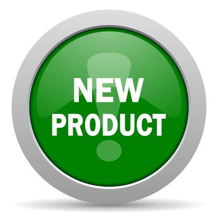 new product: new product green glossy web icon Stock Photo