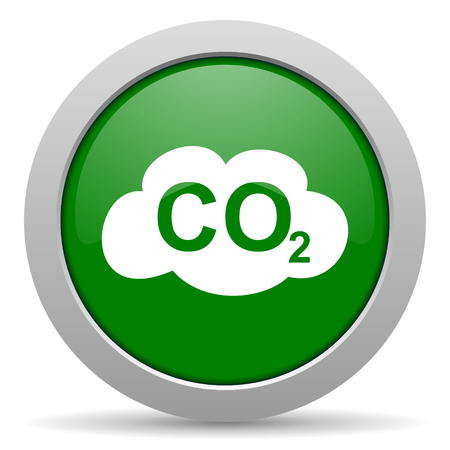 carbon dioxide: carbon dioxide green glossy web icon