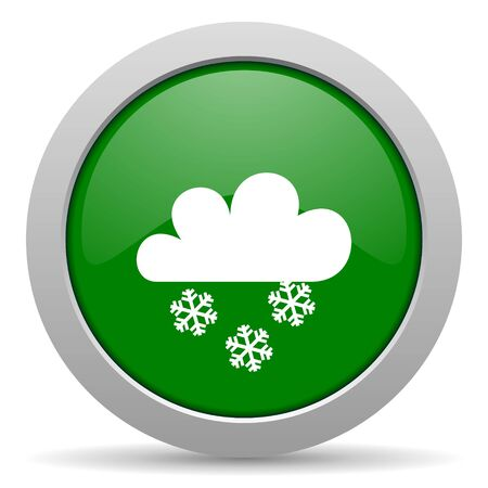 snowing: snowing green glossy web icon Stock Photo