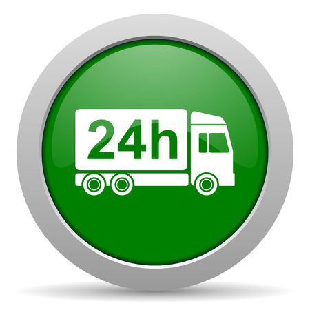 delivery green glossy web icon photo