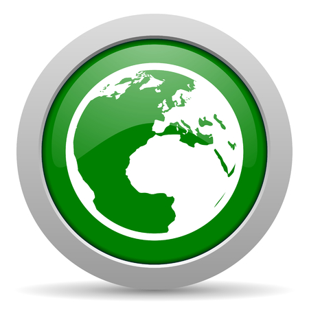 meridians: earth green glossy web icon