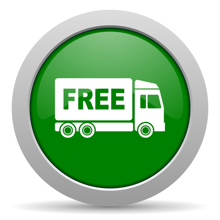free delivery green glossy web icon photo