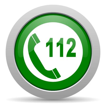 emergency call: emergency call green glossy web icon