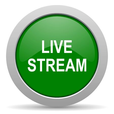 news cast: live stream green glossy web icon