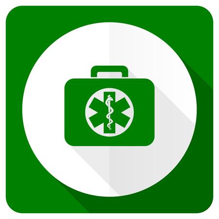 first aid kit: kit de rescate icono plana se�al de emergencia