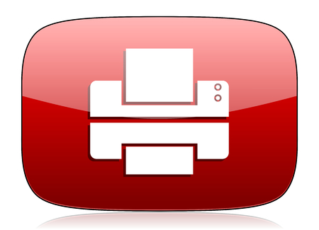 printer red glossy web icon photo