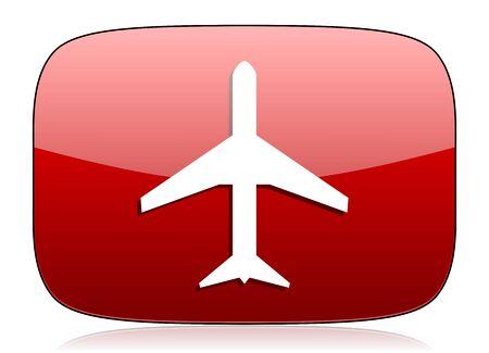 plane red glossy web icon photo