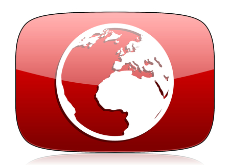 parallel world: earth red glossy web icon Stock Photo