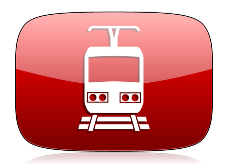 train red glossy web icon photo