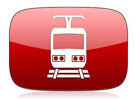 train red glossy web icon photo