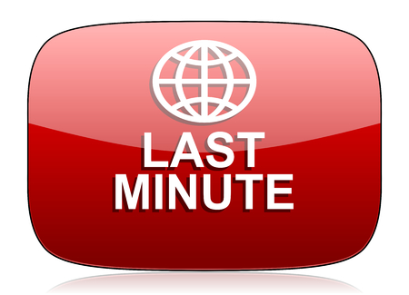 minute: last minute red glossy web icon
