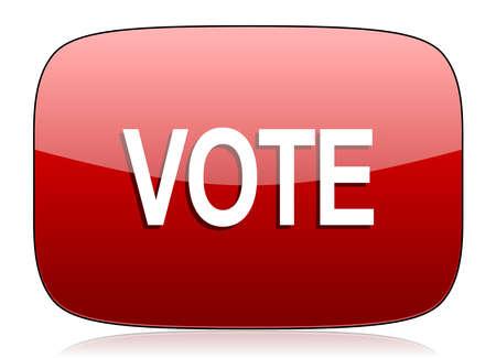 icono web: votar icono rojo brillante Web Foto de archivo