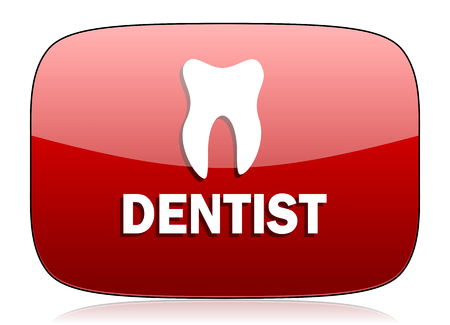 icono web: dentista icono rojo brillante Web