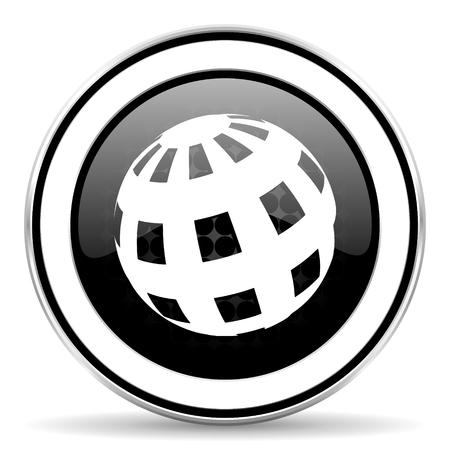 chrome: earth icon, black chrome button Stock Photo