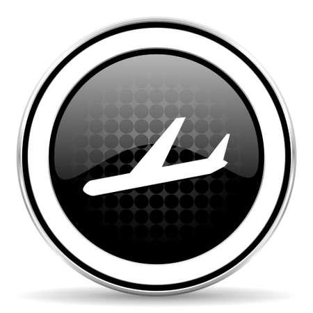 arrivals: arrivals icon, black chrome button, plane sign