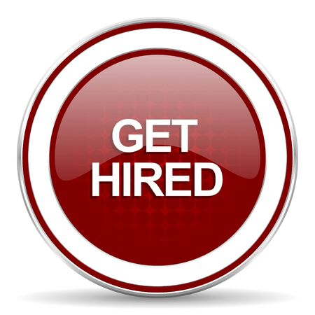 hired: get hired red glossy web icon