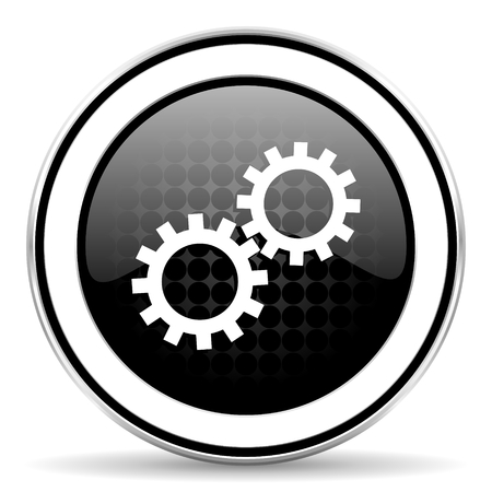 gears icon: gears icon, black chrome button, options sign Stock Photo