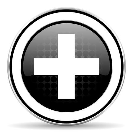 plus icon: plus icon, black chrome button, cross sign