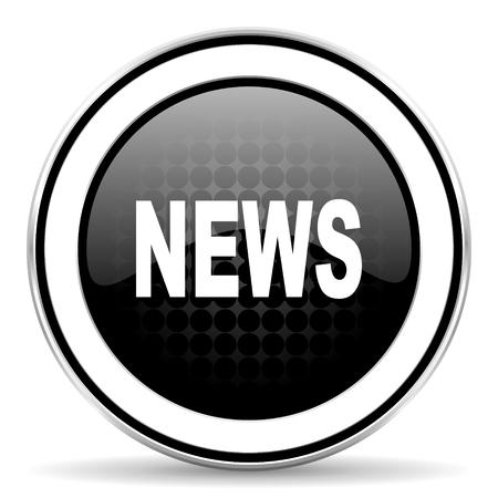 icone news: news icon, black chrome button