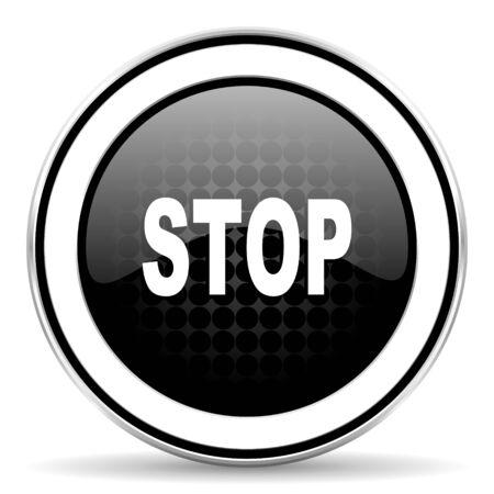 stop icon: stop icon, black chrome button