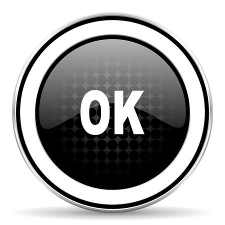 ok icon: ok icon, black chrome button Stock Photo