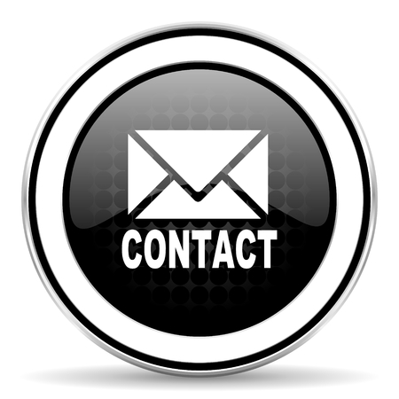 email contact: email icon, black chrome button, contact sign