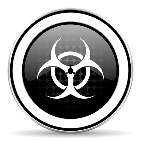 bacterioa: biohazard icon, black chrome button, virus sign