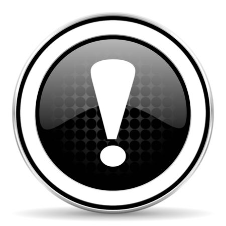 exclamation sign: exclamation sign icon, black chrome button, warning sign Stock Photo