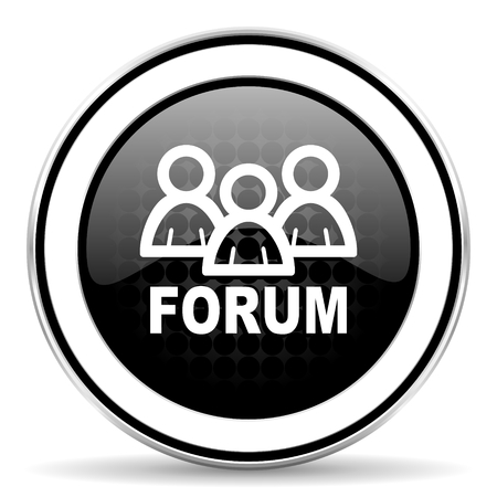 forum icon: forum icon, black chrome button