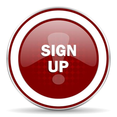 subscribing: sign up red glossy web icon Stock Photo