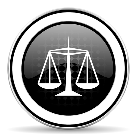 justice icon, black chrome button, law sign photo