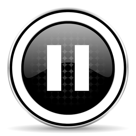 chrome: pause icon, black chrome button