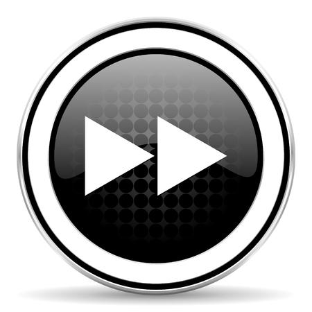 rewind: rewind icon, black chrome button Stock Photo