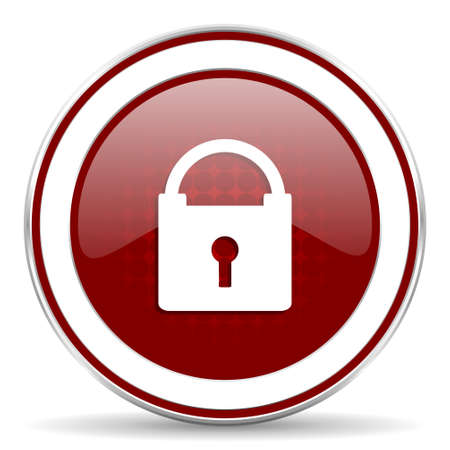 trusty: padlock red glossy web icon