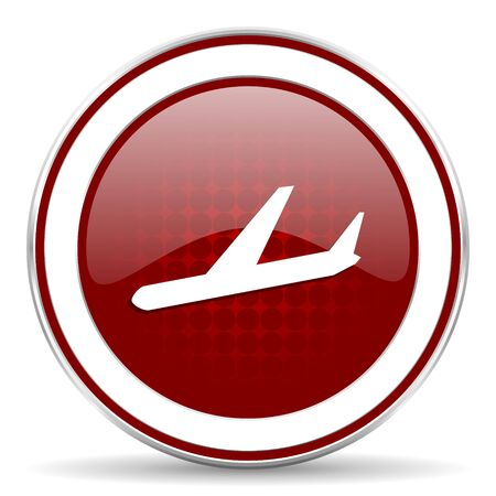 arrivals: arrivals red glossy web icon Stock Photo