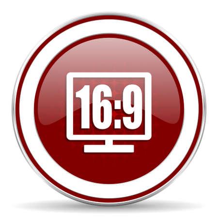 programm: 16 9 display red glossy web icon