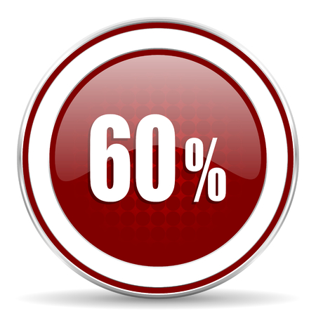 60: 60 percent red glossy web icon Stock Photo