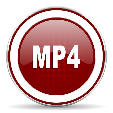 mp4: mp4 red glossy web icon Stock Photo