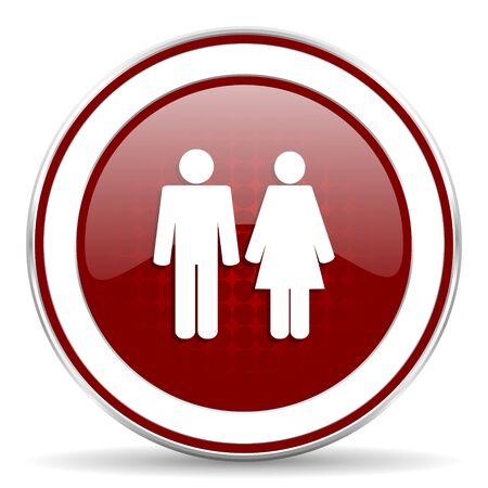 icono web: pareja icono rojo brillante Web