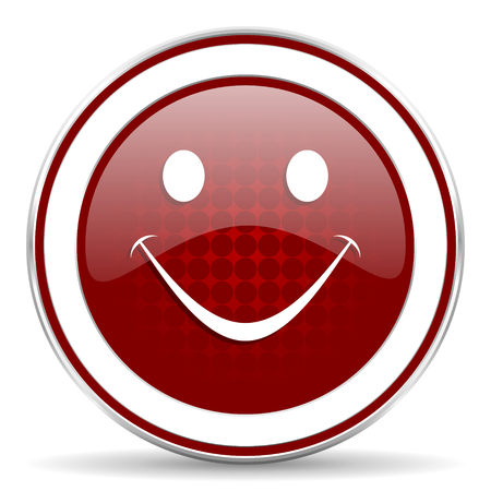 smile red glossy web icon photo