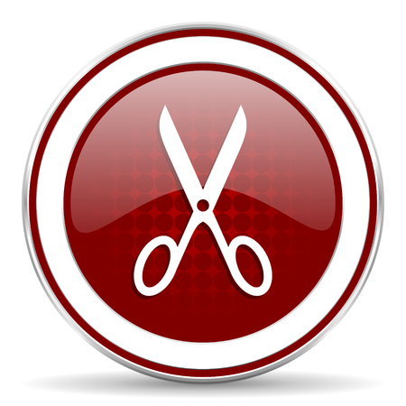 shampooing: scissors red glossy web icon
