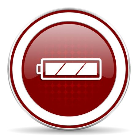 battery red glossy web icon photo